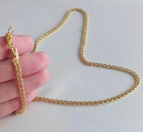 Cordão 70cm + Pulseira 3mm Banhados A Ouro - Elos Soldados