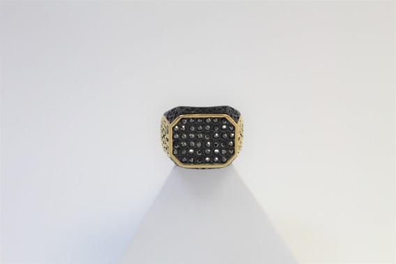 Anillo Negro Y Dorado Con Piedras Acero Inoxidable