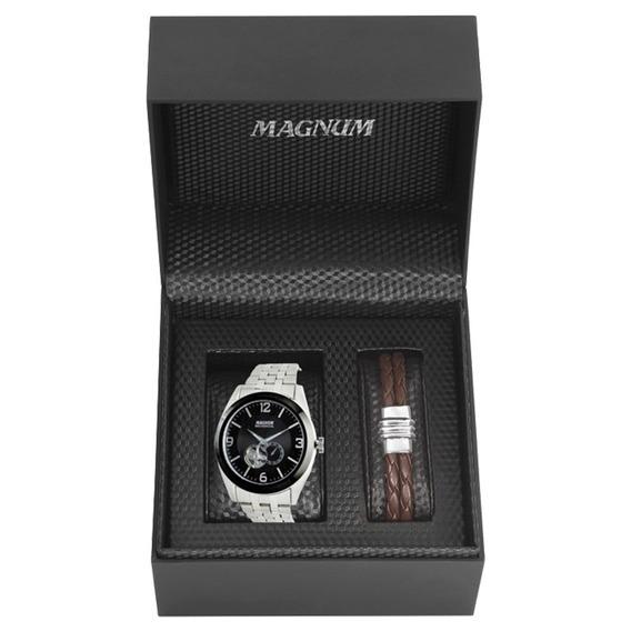 Relógio Magnum Kit Masculino Brinde Pulseira Couro Ma31486c