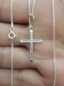 Crucifixo + Corrente Groumet 50cm Em Prata Pura 925 + Brinde