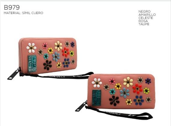 Billetera Fichero Cuero Pu 5 Colores Con Cierre Leblu B979