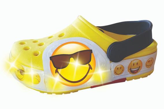 Sueco Goma Con Luz Led Emoji Smiley Word Niñas/niños