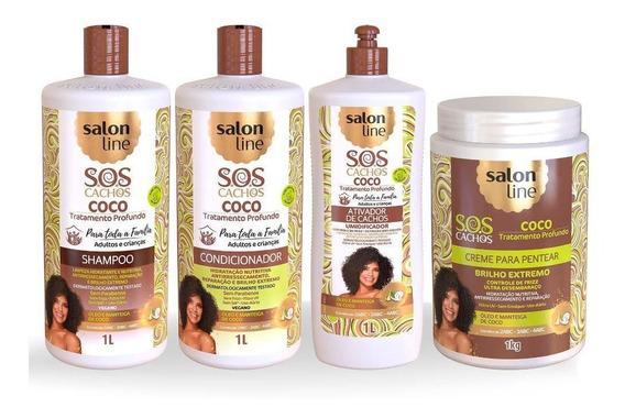 Kit Sos Cachos Coco Com Creme E Ativador Litrão Salon Line