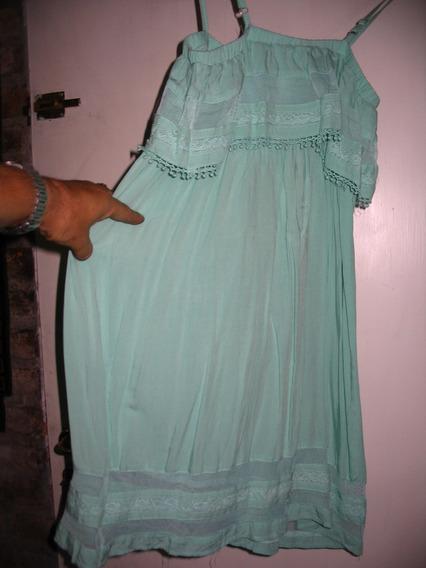 Vestido Minifalda Verde Agua Puntilla Solera M Fibrana Encaj