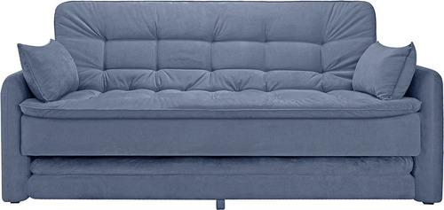 Imagen 1 de 10 de Sofa Cama Sillon Azul Tela Living Divino