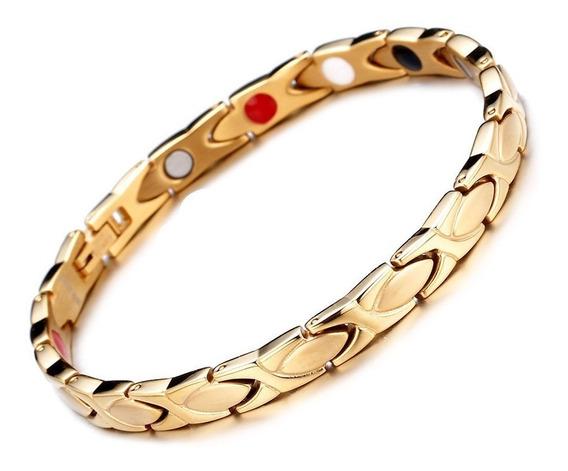 Pulseira Feminina Ouro 18k Aço Inox Hematita Magnética Ouro