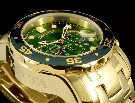 Relógio Invicta Pro Driver 0075 Plaque Ouro Fundo Verde