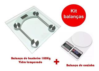 Balança Digital De Cozinha E Banheiro De Vidro Kit Dieta