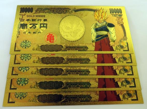 5 Cédulas - Dragon Ball Z Gold - Plástico - Promoção.