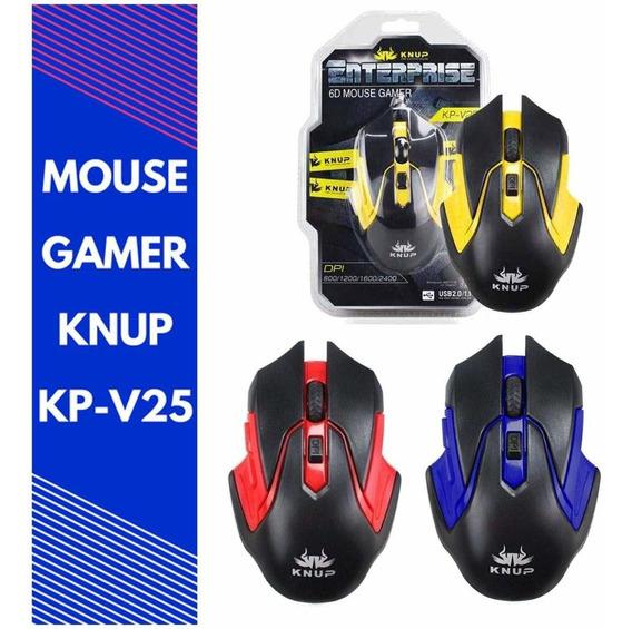 Mouse Gamer Com Fio Led 6 Botões 2400dpi Usb Knup Kp-v25