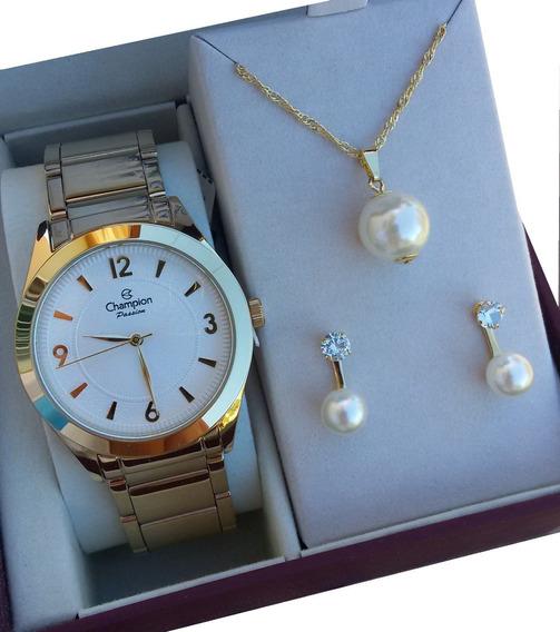 Kit Relógio Feminino Champion Dourado Cn28866b Original Nf