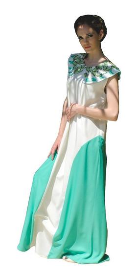 Vestido Largo De Saten Beige - Soph