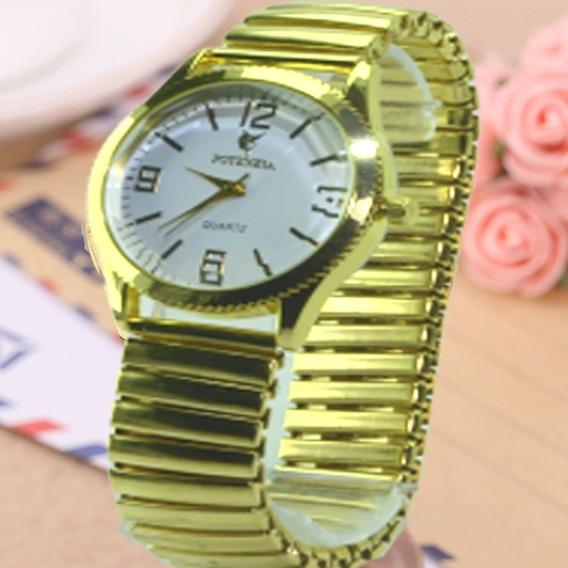 Relógio Feminino Dourado Pulseira Elástica Com Fundo Branco