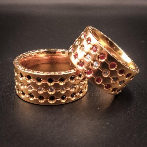 Aliança De Ouro Chapa Reta C/pedras