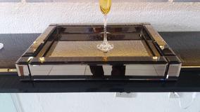 Bandeja Espelhada - Espelho Bronze 30x42cm
