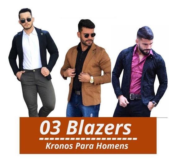 Combo Com 03 Blazers Slim Fit Masculino Com Elastano