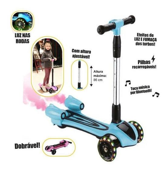 Patinete Infantil Foguete 3 Roda Turbo Led Saindo Fumaça Azu