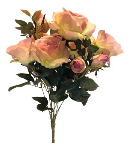 Imagem 1 de 7 de Buquê De Rosas X10 49cm - Rosa Outono