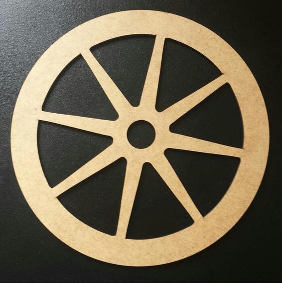 Roda De Carroça Mdf Cru Decoração Aplique 80 Cm