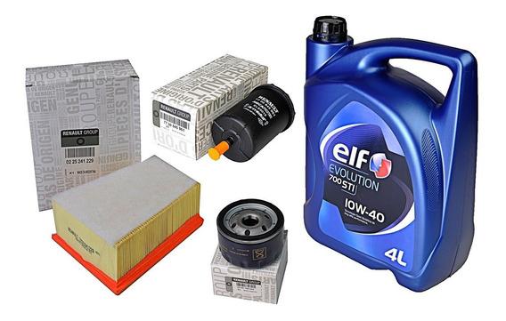 Kit Filtros + 4lts Aceite Elf 10w40 Clio Kangoo Sandero 1.6