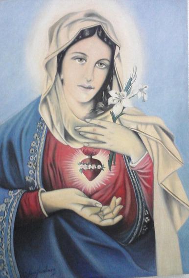 J. A. Belas Artes-sagrado Coração De Maria (pintura A Óleo)