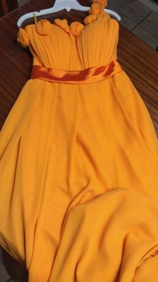 Vestido Importado Largo Con Flores Aplicadas T Medium