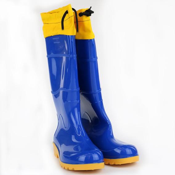 Bota Pvc Azul E Amarela Nr46 Cano Longo Com Polaina | Worker