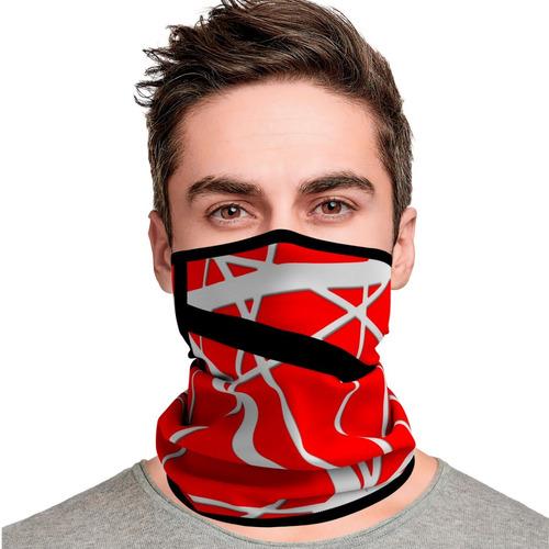Mascara Van Halen Red Stripes Lenço Bandana Proteção Rock 01
