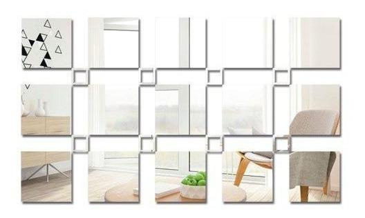 Espelho Decorativo Quadrados Para Parede Quarto Ou Sala