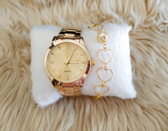 Kit 5 Relógios Feminino + Pulseiras Folheadas E Caixinhas