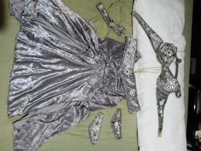 Roupa Traje Completo Luxo Dança Do Ventre Profissional Prata
