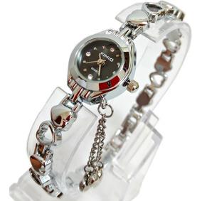 Relógio Pequeno Pulseira Feminina Prata Aço Inox