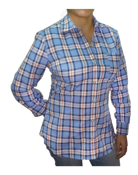 Camisa Cuadros Escocesa Mujer Entallada Pack X 2
