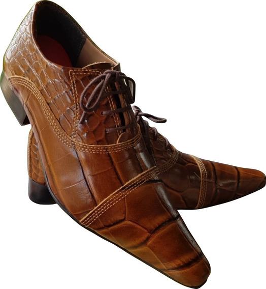 Sapato Masculino Em Couro De Jacare Marrom Ref: 644