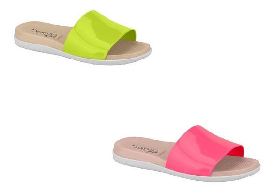 Chinelo Beira Rio Slide Neon 8360.103 Feminino Pink Amarelo