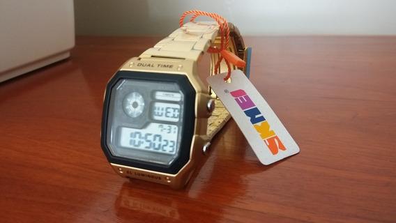 Relógio Skmei 1335 Retrô 13 Dígitos Dourado Pronta Entrega