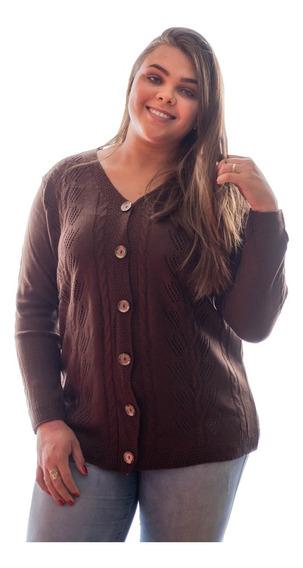 Blusa Casaco De Frio Botão Tricot Plus Size Inverno Básico