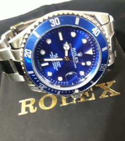 Relógio Masculino Submariner Prata Fundo Azul