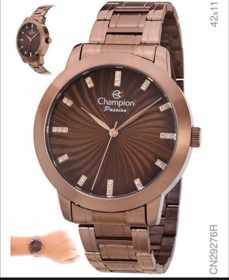 Relogio Champion Feminino Chocolate Cn28704r Grande Original