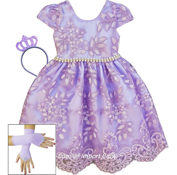 Vestido Infantil Realeza Aurora Bailarina Luxo E Coroa Luvas