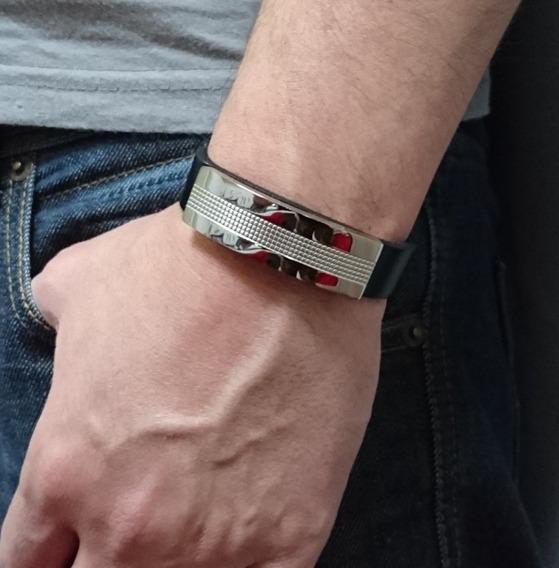 Bracelete Pulseira Masculina Couro E Aço Prateada 15 Mm