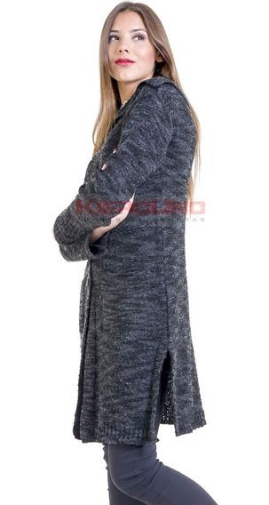 Tapado Largo Tejido Lana Mujer Otoño Invierno Tapado Negro