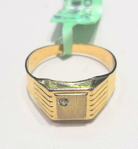 Anillo De Sello Cuadrado Con Circonia Oro 10 K + Obsequio