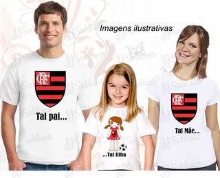 Kit 03 Camisetas Pai Mãe Filha Corinthians B 13
