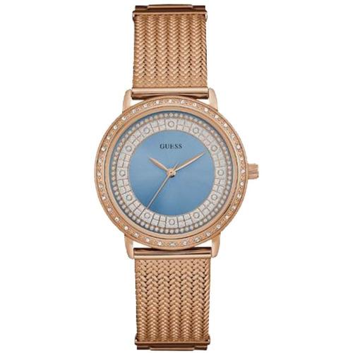 Relógio Feminino Guess 92288lpgdra6 Rosê Visor Azul