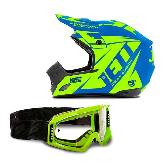 Capacete Trilha Motocross Protork Jett Evolution + Óculos