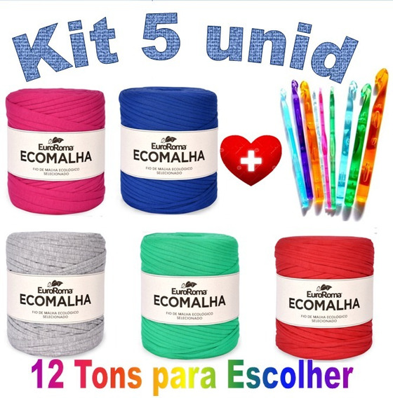 Fio De Malha Ecomalha 80m Crochê Kit Com 5 + 9 Agulhas
