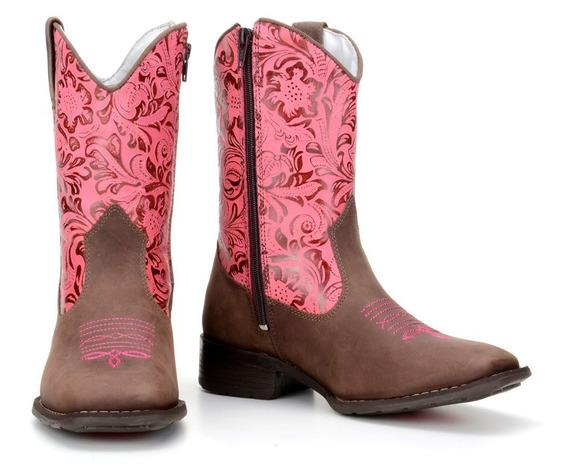 Bota Infantil Feminina Texana Country 100% Couro Capelli