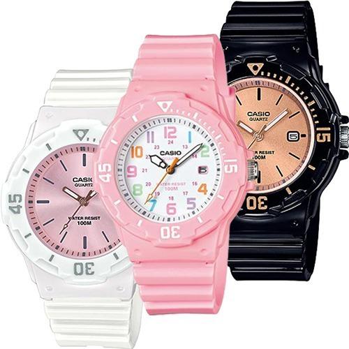 Reloj Dama Casio Lrw200 Rosa - Fechador Acabado Brillante