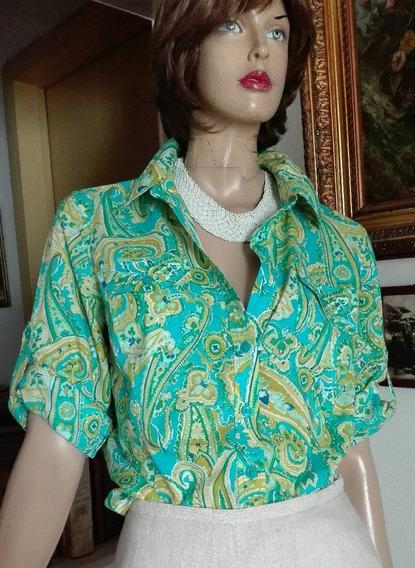 Hermosa Camisa Con Dibujos Bulgaros, Jones, N.y.